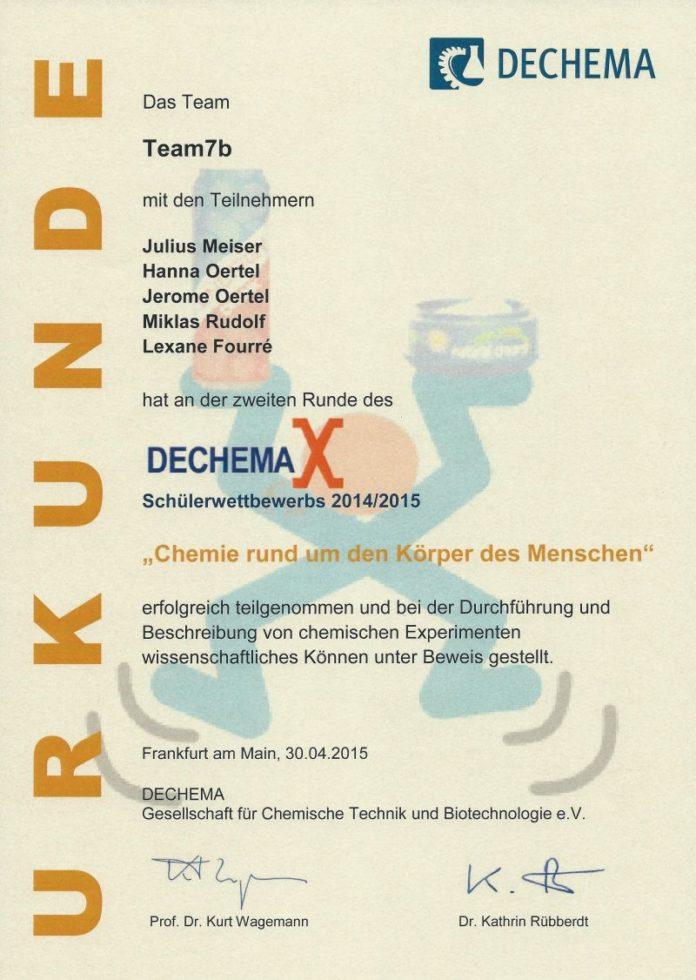 Dechemax Chemie Wettbewerb MCG Neuss 2015