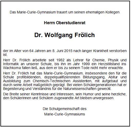 Nachruf Dr.Fröhlich MCG Neuss 2015